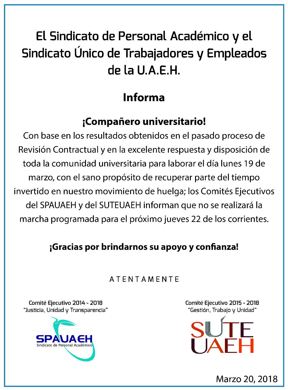 Cancelan marcha de la UAEH programada para el Jueves - Quadratin Hidalgo