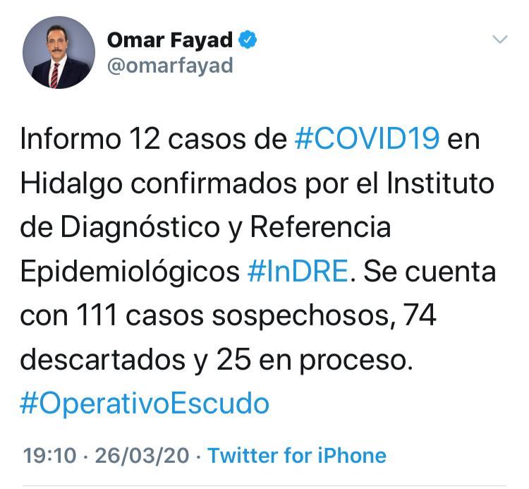 Omar Fayad, gobernador de Hidalgo, da positivo a COVID-19